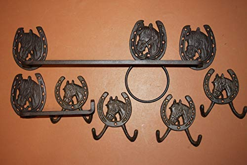Southern Metal Cast Iron Western Horse Towel Rack Bath Towel Ring Toilet Paper Holder Wall Hooks Bundle of 7 Pieces