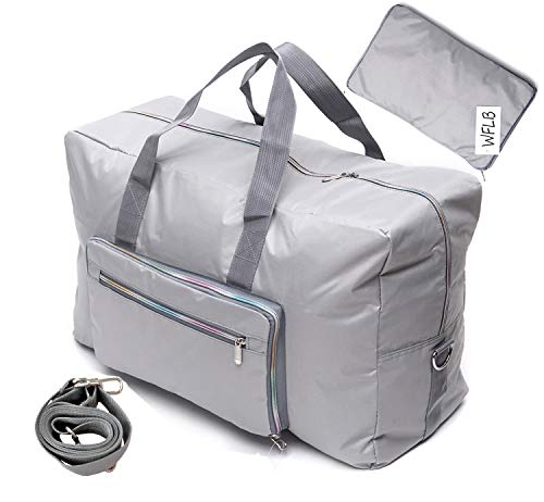 Large Travel Duffel Bag Foldable Large Travel Bag Weekend Bag Checked Bag  Luggage Tote 18 Style 21.6IN x 9.8IN x 13.7IN (silver)