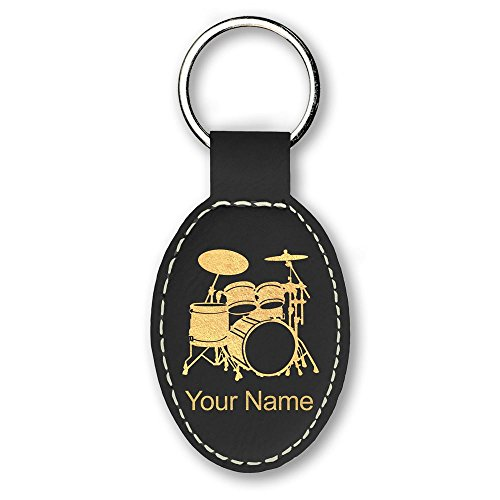 Oval Keychain, Drum Set, Personalized Engraving Included (Black)
