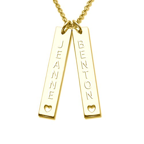 - 925 Sterling Silver Personalized Double Bar Pendants Necklace with Cut Out Heart Custom Made with 2 Names (18K Gold Plated)
