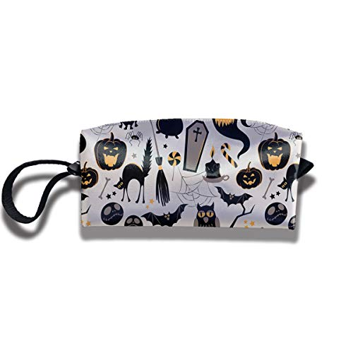 Halloween Cartoon Jack O Lantern Cosmetic Bag for Women Travel Accessories Bag Makeup Pouch Durable Waterproof Handbag with Zipper Toiletry -