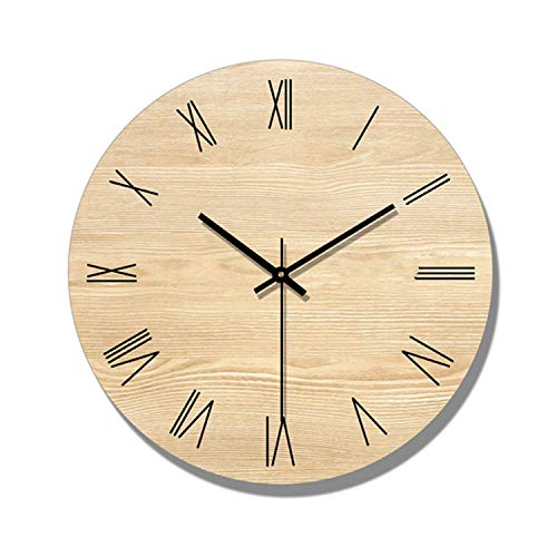 Wenzi-day Wall Clock Living Room Decoration Nordic Wooden Wall Clocks Quartz Watch Home Decor Silent,Type A Without Frame,16 inch
