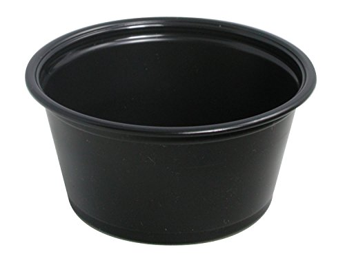 Conex Black Complements Portion Polypropylene Container, Plastic Condiment Cups with Clear Lids, Souffle Portion, Jello Shot Cups, Salad Dressing, Sauce Containers (50) (2 Oz Black Portion Cups)
