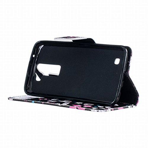 Borsa Custodia Protettivo LG K8 K350N Slot Morbido Standing Card Bumper LG 2 Custodia Case TPU Portafoglio K8 Sottile Pelle LG Silicone Cover Magnetico per Phoenix Flip LEMORRY Cuoio Chiusura Fit ZqxtFPwn