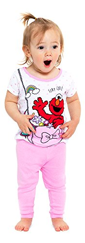 Sesame Street Girls' Toddler Elmo 4-Piece Cotton Pajama Set, Glam, 2T]()