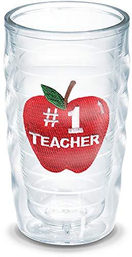 Tervis 1037970 #1 Teacher-Apple Insulated Tumbler with Emblem, 16Oz, Clear