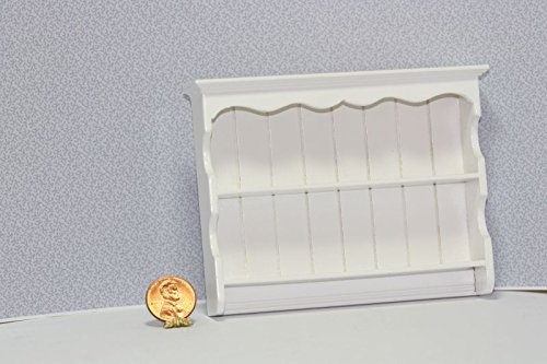 Dollhouse Miniature 1:12 Scale White Painted Wood Kitchen Wall Shelf (Dollhouse White Miniature Wood Painted)