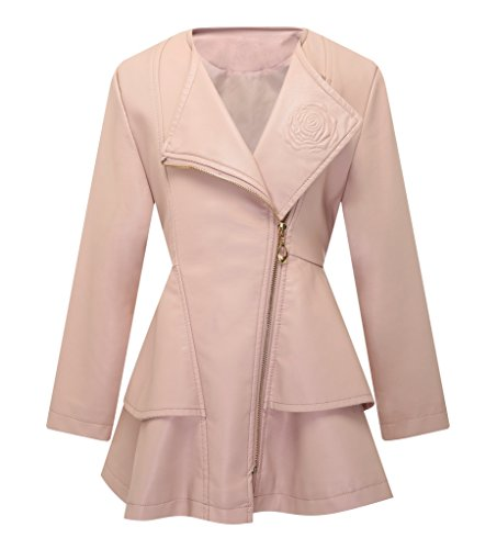 The Twins Dream Girls Faux Leather Coat Toddler Jacket for Kids Dress Coat with Emboss Rose - Pink Coat Dress