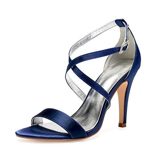 Elobaby Femmes Peep Dark Blue Satin Boucle Chaussures Sangle 10 Ivoire Hauts Mariée Mariage Talons De Cheville 5 Toe Plateforme Robe rrwC6q