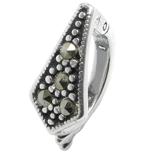 Dreambell 925 Sterling Silver Marcasite Interchangeable Clasp Enhancer Shortener fits European Bracelet