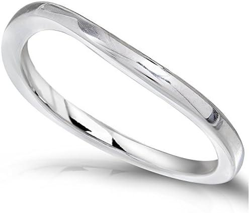 Kobelli 14k White Gold Curved Wedding Band
