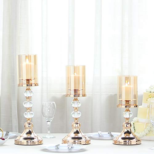 - Efavormart Set of 3 | Gold Metal Pillar Candle Holders with Hurricane Glass Tubes - 13