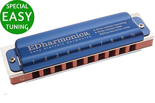 Special Easy Tuning Harmonica with Free 10 Courses, 500 Tabs, Beginner to Advanced, for Easier Playing Blues, Pop, Rock, Country Music, Jazz, Reggae, EDharmonica, Key C