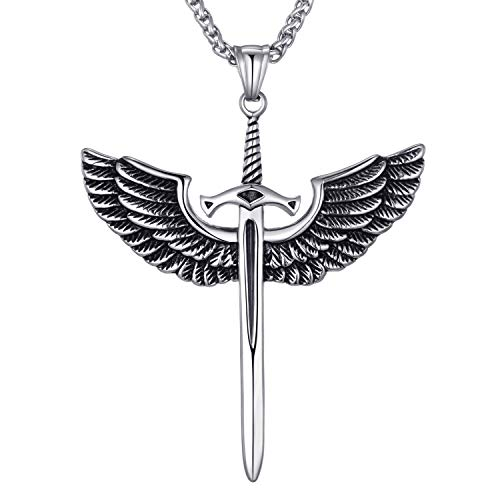 Moolee Mens Stainless Steel Pendant Necklace Angel Wings Sword Cross Pendant with 24 Inches Link Chain ()