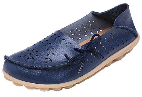 Wenhong Dames Drijfschoenen Rundleer Instappers Loafers Bootschoenen Flats Marine