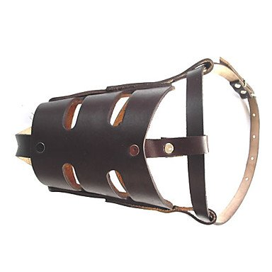 Quick shopping Bai Adjustable PU Leather Muzzle for Pets Dogs (M,Coffee)