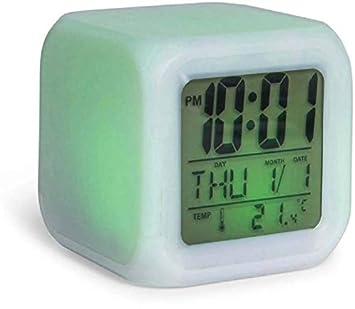 Jamboree Digital White Digital Alarm Temperature Night Glowing Cube 7 Colors Clock LED Change LCD Clock