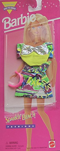 BARBIE Easy to Dress SPARKLE BEACH FASHIONS w Outfit & Sun Glasses (1995 Arcotoys, - Sunglasses Buffy