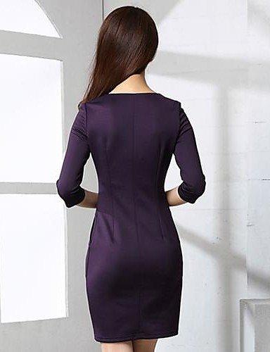Polyester Col Tailles Du Couleur Femmes m Sexy Grandes Robe Au Dessus Lyq V Pleine Aux Wine En Genou Z48wqBOC