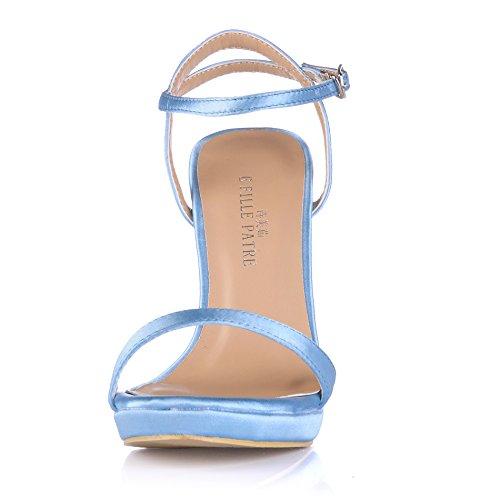 Scarpe Da Donna Con Tacco Alto A Punta Aperta Scarpe Con Tacco A Spillo Sm00601 Blu Seta