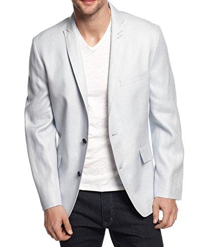 INC Slim Fit Linen Blazer Jacket Mens Two Button Gray 2XL
