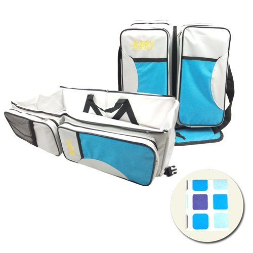 Portable Travel Bassinet, 3 in 1 Multipurpose Baby Diaper Bag, Premium Foldable Changing Pad Station for Infant, with a Free Waterproof Changing Mat, Perfect Baby Shower Gift for Newborns(Blue)