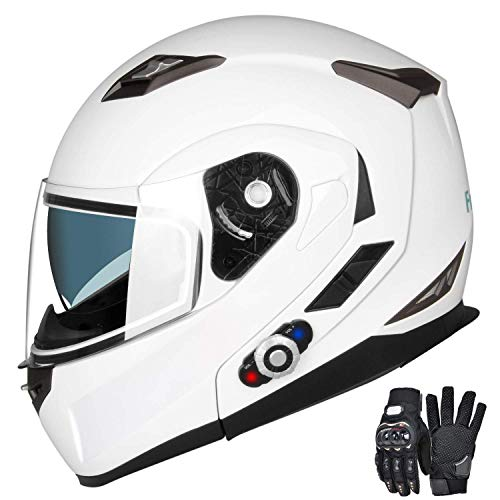 Motorcycle Bluetooth Helmets,FreedConn Flip up Dual Visors Full Face Helmet,Built-in Integrated Intercom Communication System(Range 500M,2-3Riders Pairing,FM radio,Waterproof,L,White) ()