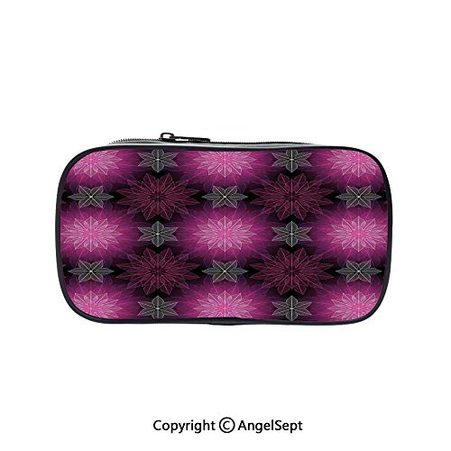 Big Capacity Pencil Case 1L Storage,Radiant Fragmented Floral Flower Petals Pattern with Translucent Artwork Plum Violet 5.1inches,Desk Pen Pencil Marker Stationery Organizer with Zipper for School - Translucent Pen Violet