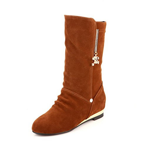 B Closed Round with Toe 4 Charms M Plush Suede AmoonyFashion Boots Kitten Solid Imitated Short Yellow US Heels 5 Womens T5qggwn7E