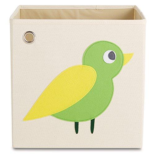 kaikai & ash Toy Storage Bins, Canvas Cube Organizer, Kids 13 inch Box - Enchanted Green Bird