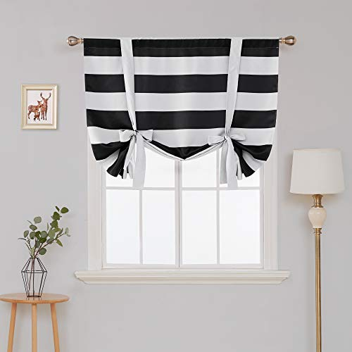 (Deconovo Striped Blackout Curtains Rod Pocket Black and Greyish White Striped Curtains Tie Up Window Drapes for Living Room 46W X 63L Black 1 Panel Curtains)
