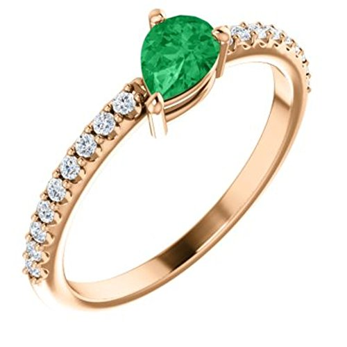 14K Rose Chatham Created Emerald & 1/6 CTW Diamond Ring