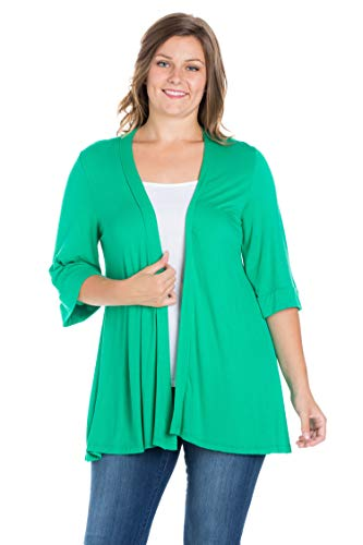 24seven Comfort Apparel Clothing for Women 3/4 Sleeve Draped Open Front Cardigan - Made in USA - 2X-Large - Grass (Usa Made In Women Clothing)