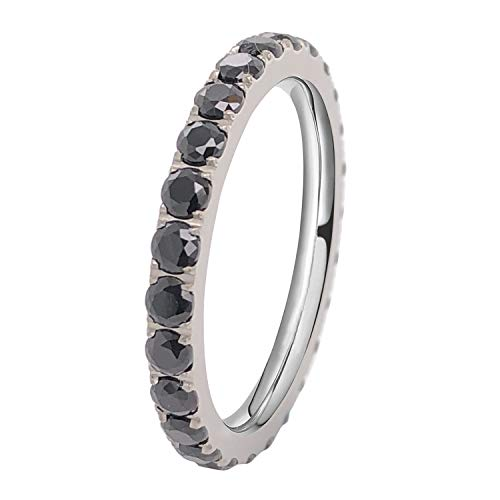 FlameReflection Ladies Black Titanium Eternity Engagement Band Wedding Ring with Black Pave Set Cubic ()