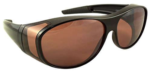 Men Women Unisex Sun Shield Blue Blocking Fit Over Sunglasses With HD Copper Driving Lenses, Wear Over Prescription Glasses, Over Eyeglasses (Black) Large (Microfiber Pouch Included)