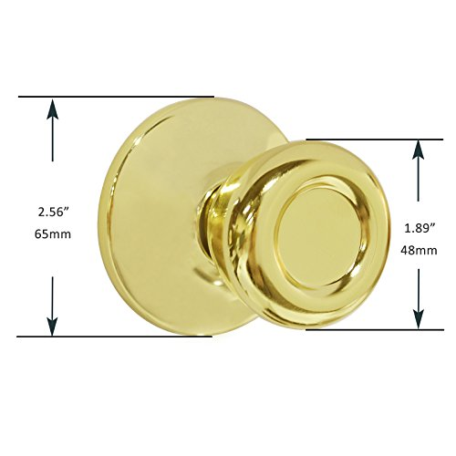 Dummy Interior Door Knob Set Tulip Shape Handles Decorative Inactive Trim Knob for Right or Left Handed Door, Polished Brass, 2 Pack by Home Improvement Direct (Image #3)