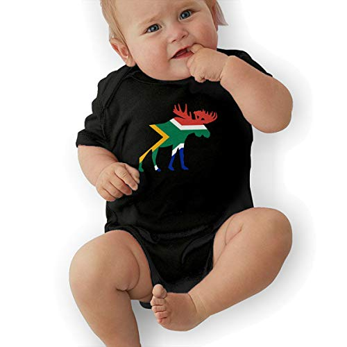U88oi-8 Short Sleeve Cotton Bodysuit for Unisex Baby, Cute South Africa Moose Playsuit Black]()