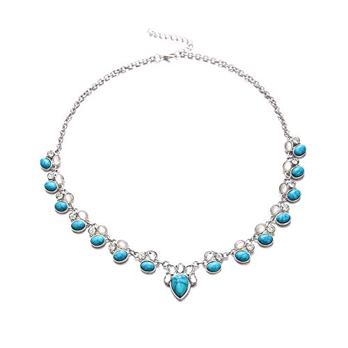 Guoainn ➤✎✎✎Women Fashion Faux Opal Turquoise Pendant Chain Choker Necklace Party Jewelry ()