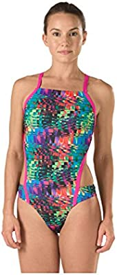 Speedo Women/'s Vee 2 Color Block Printed Sport Monokini Swimsuit Speedo Men/'s and Women/'s Swimwear