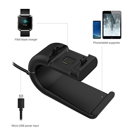 Fitbit Blaze Charger, YFFSUN Charger Clip Cradle Dock Micro USB Charging Station for Fitbit Blaze Smart Fitness Watch (black) by YFFSUN (Image #4)