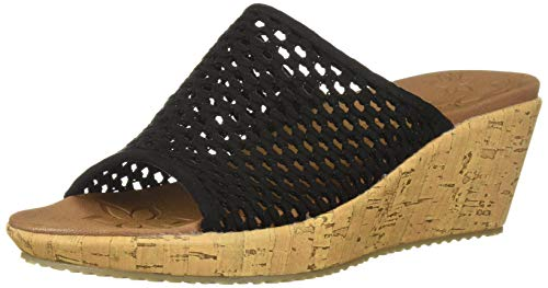 Skechers Women's Beverlee-Golden Sky-Woven Single Band Slide Wedge Sandal, Black, 7.5 M - Cork Woven Sandals