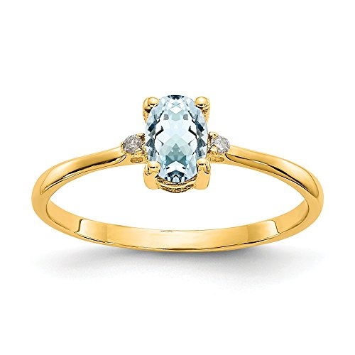 14k Yellow Gold Diamond Blue Aquamarine Birthstone Band Ring Size 6.00 March Oval Fine Jewelry Gifts For Women For Her