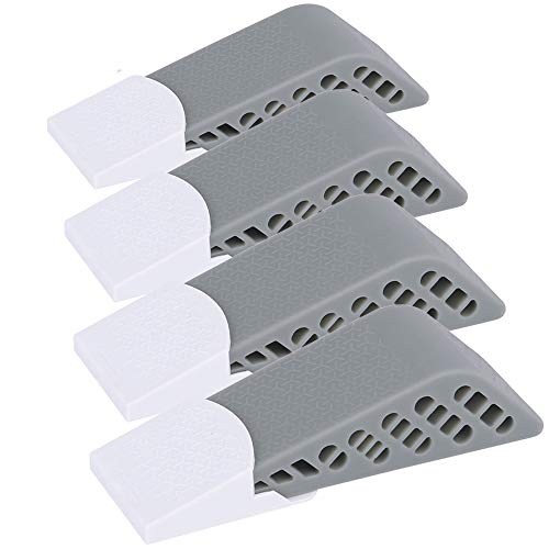 Newkiton 4Pcs/Set Rubber Door Stops Wedge Flexible Floor Door Stopper Finger Protector (Grey)