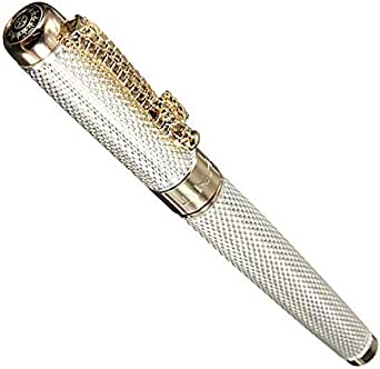 A silver ink pen with a gold plated and 18K gold plated pin