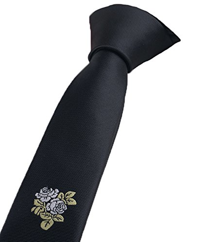 Flairs New York Gentleman's Global Inspired Neck Tie (Kuro Black/White Rose [Japanese Inspired])