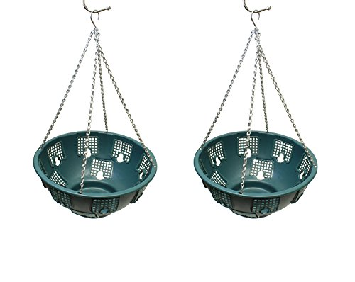 7Penn Outdoor Hanging Baskets Hanging Basket for Hanging Plants Hanging Flowers Hanging Plant Holder 2pk in Green