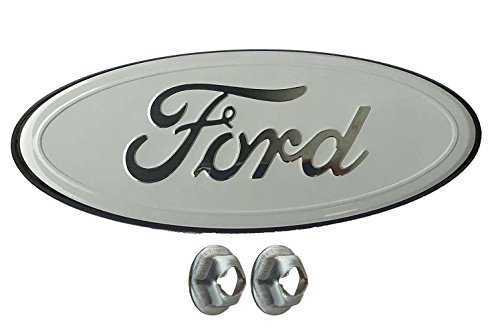 Muzzys FORD 05-14 F150 WHITE and Chrome Grille OR Tailgate Emblem WITH NUTS, Oval 9