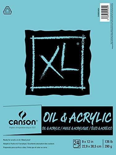 Canson XL Series Oil and Acrylic Paper Pad, Bleed Proof Canvas Like Texture, Fold Over, 136 pound, 9 x 12 Inch, White, 24 Sheets