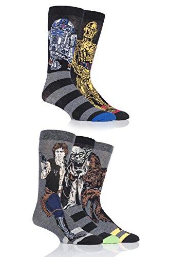 SockShop Mens 5 Pair Disney Star Wars Heros Yoda, Chewbacca, C3P0, R2-D2 and Han Solo Socks 7-12 Assorted