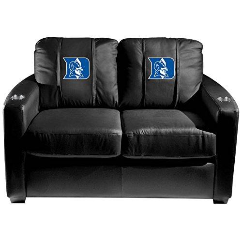 XZipit College Silver Loveseat with Duke Blue Devils Logo Panel, Black